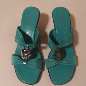Italian Shoemakers wedge blue sandals sz 8